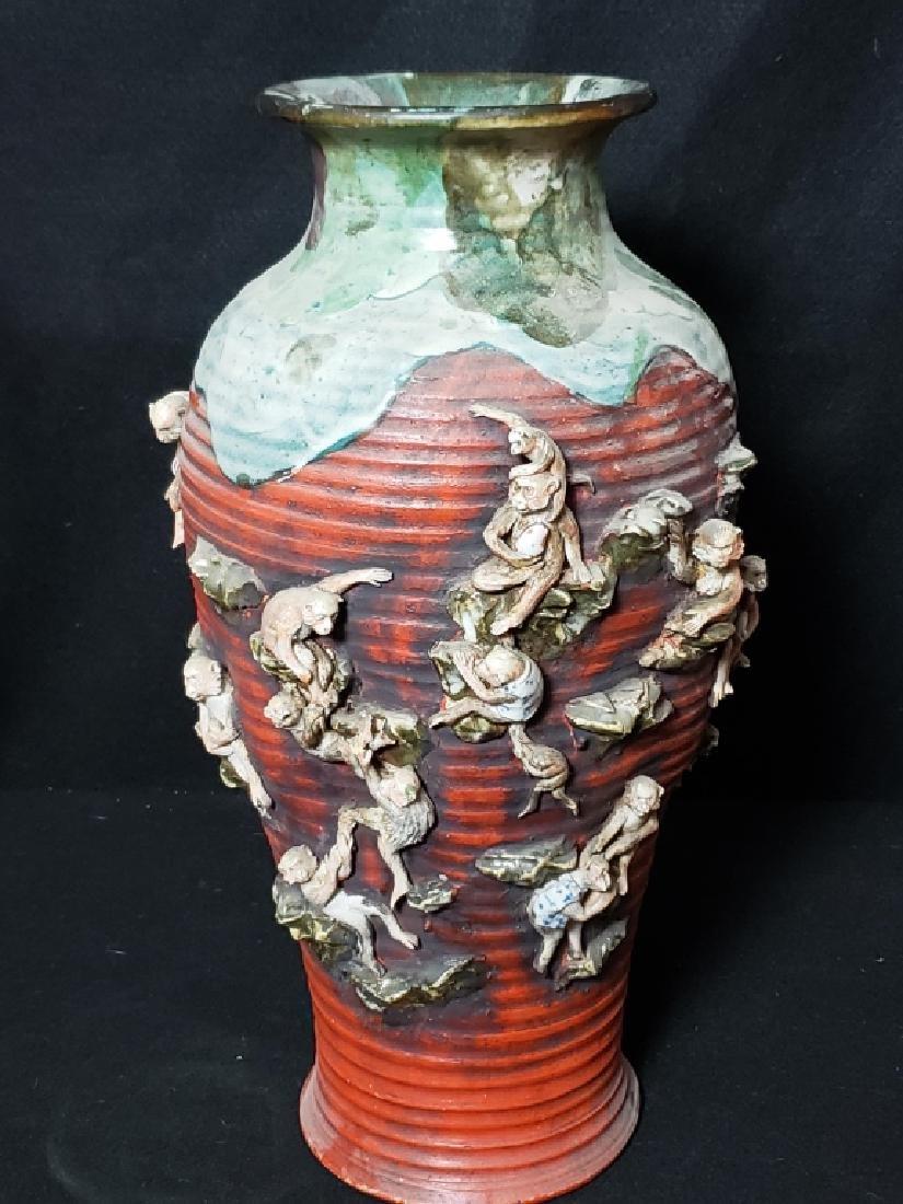 Large Sumida Gawa Vase With Monkeys - 3