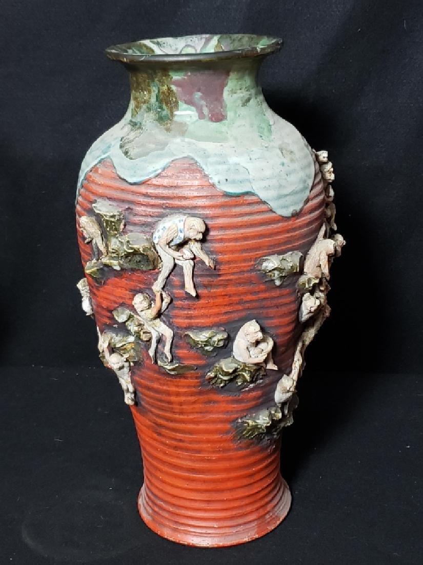 Large Sumida Gawa Vase With Monkeys - 4