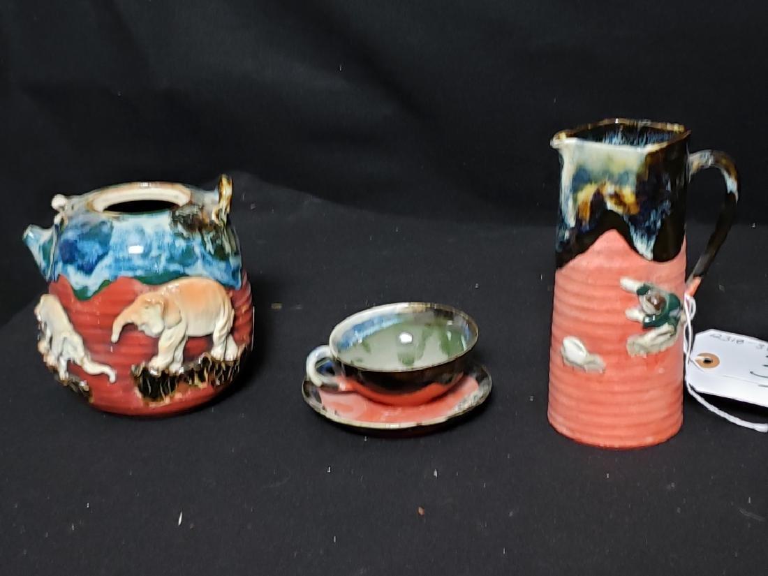 Sumida Gawa Pottery Lot, 3 Pcs