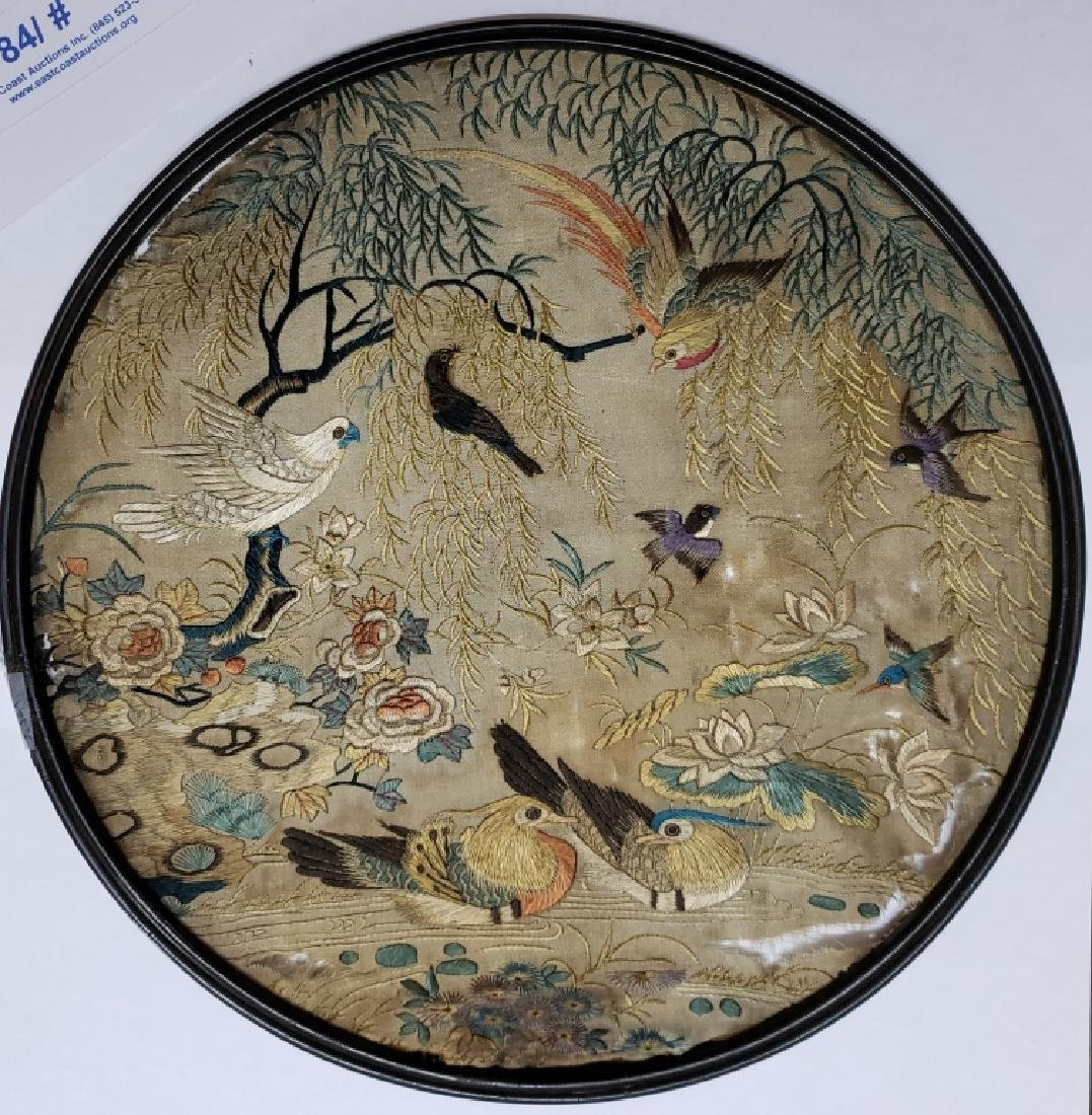 Antique Chinese Silk Screen of Birds - 3