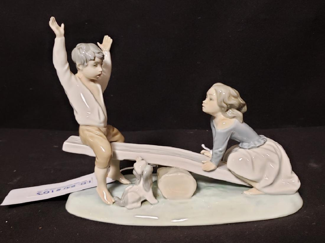 Lladro Porcelain Figurine Children On a See Saw - 2