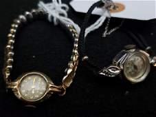 14Kt Gold Bulova Ladies Wrist Watch & Bouchard