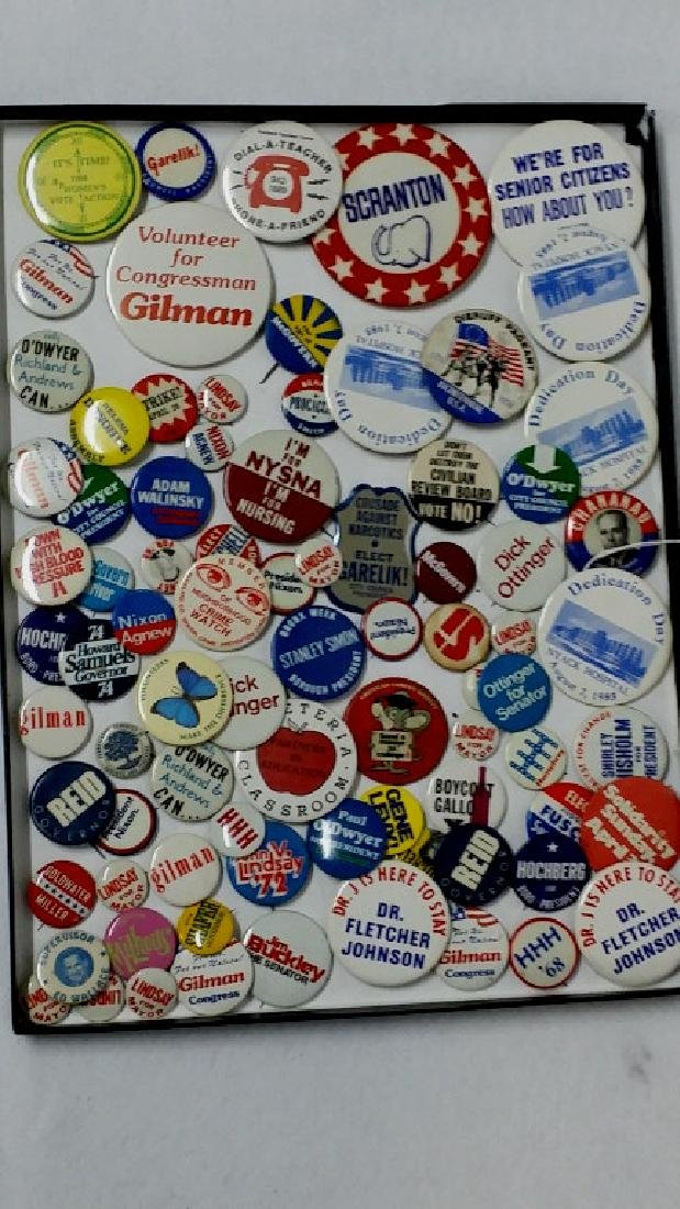 Large Assorted Button Collection; Political & More