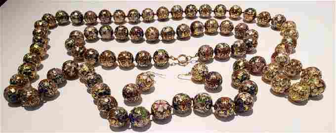 Vintage Cloisonne Bead Lot Necklaces, Earrings