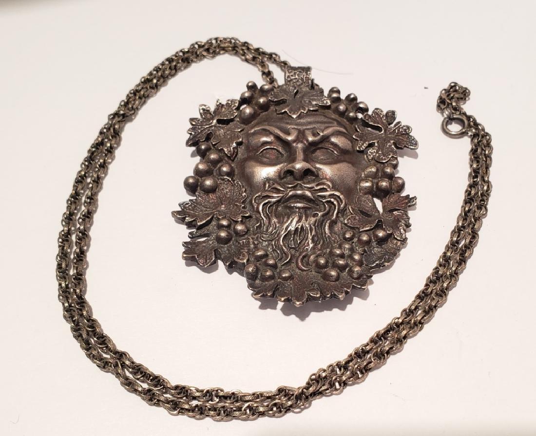 Vintage Sterling Silver Bacchus Pendant