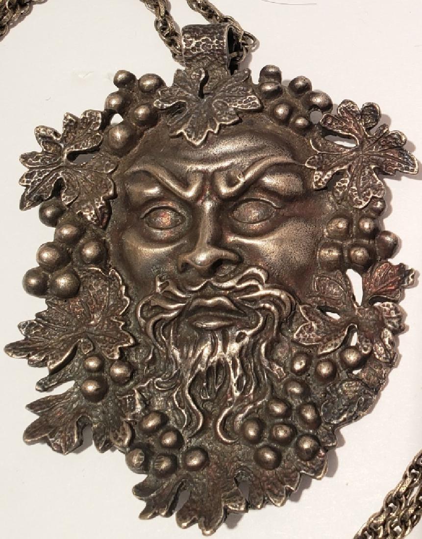 Vintage Sterling Silver Bacchus Pendant - 2