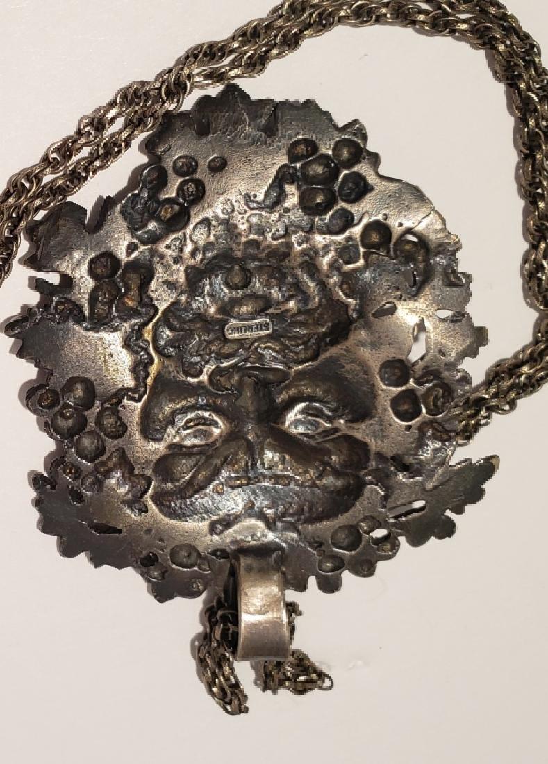 Vintage Sterling Silver Bacchus Pendant - 3
