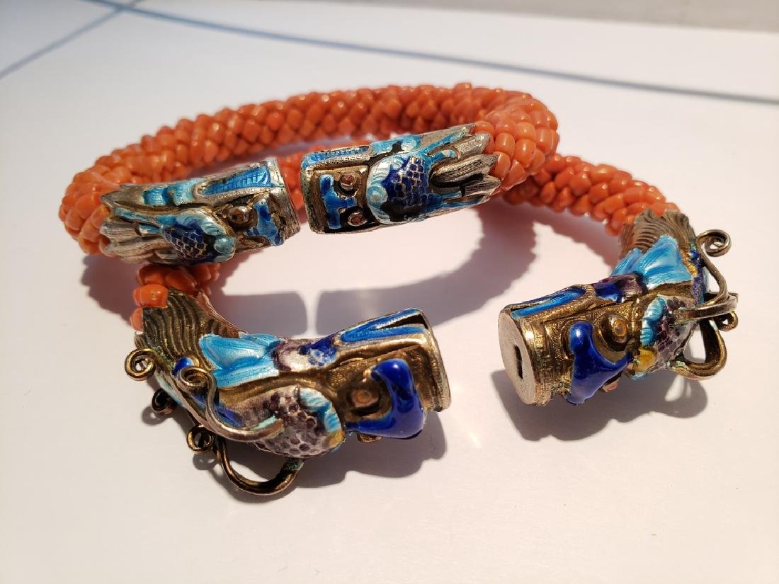 Two Chinese Silver & Enamel Coral (?) Bracelets