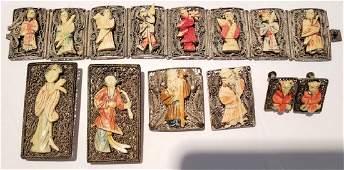 Chinese Silver & Bone Jewelry Grouping