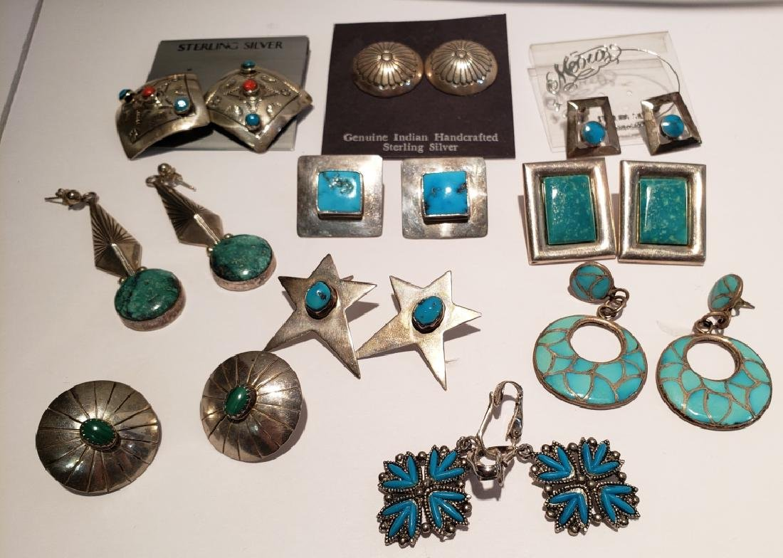 Lot of 10 Sterling & Turquoise Southwest Earrings