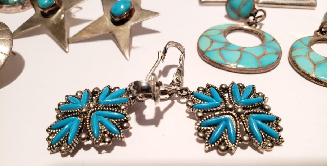 Lot of 10 Sterling & Turquoise Southwest Earrings - 2