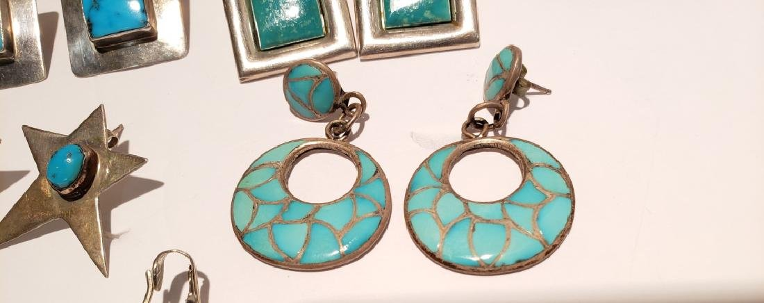 Lot of 10 Sterling & Turquoise Southwest Earrings - 3