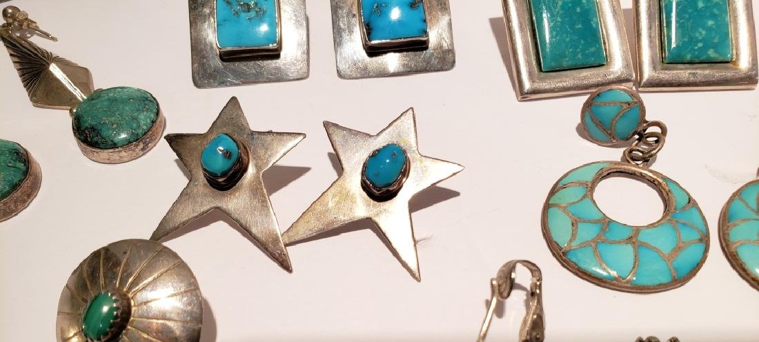Lot of 10 Sterling & Turquoise Southwest Earrings - 4