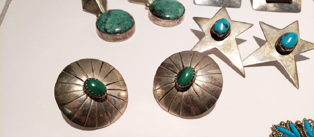 Lot of 10 Sterling & Turquoise Southwest Earrings - 5