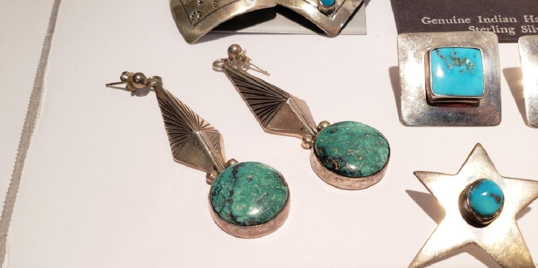 Lot of 10 Sterling & Turquoise Southwest Earrings - 6