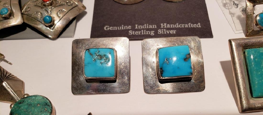 Lot of 10 Sterling & Turquoise Southwest Earrings - 7