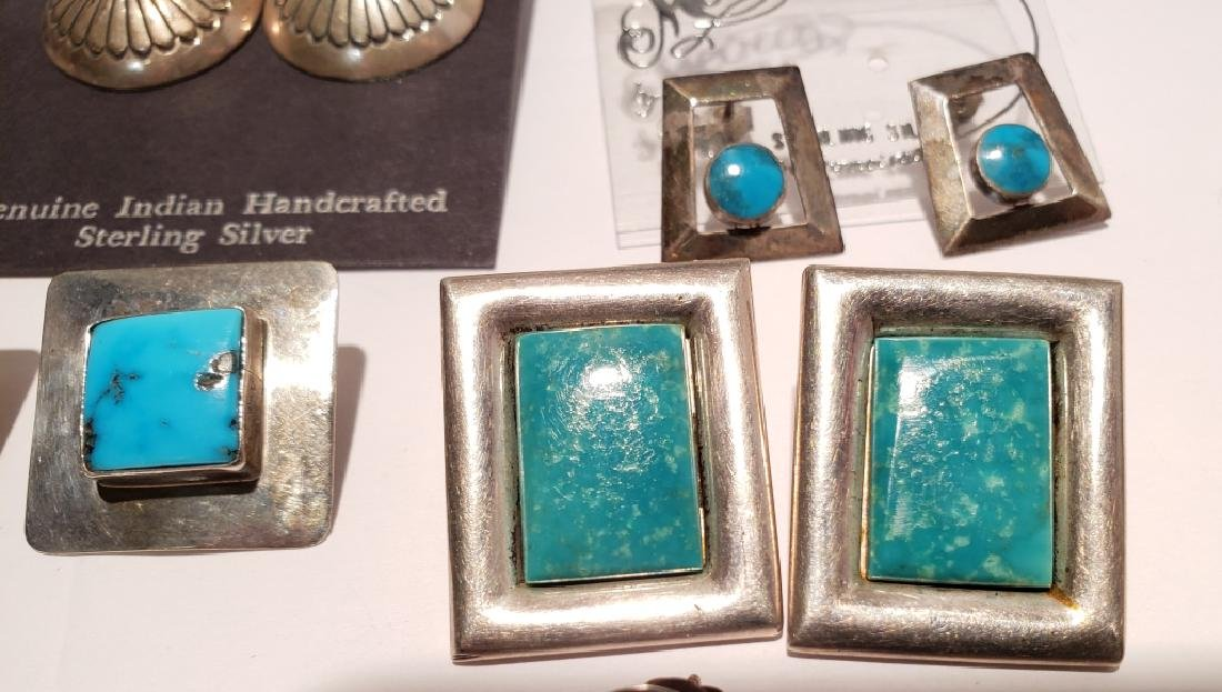 Lot of 10 Sterling & Turquoise Southwest Earrings - 8