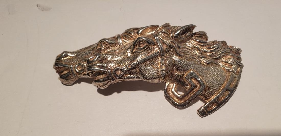 Large & Heavy Racing Horses Sterling Silver Pin