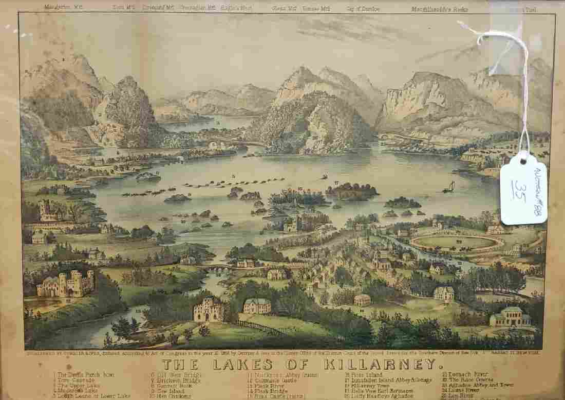"""Currier & Ives """"The Lakes Of Killarney"""" Lithograph"""