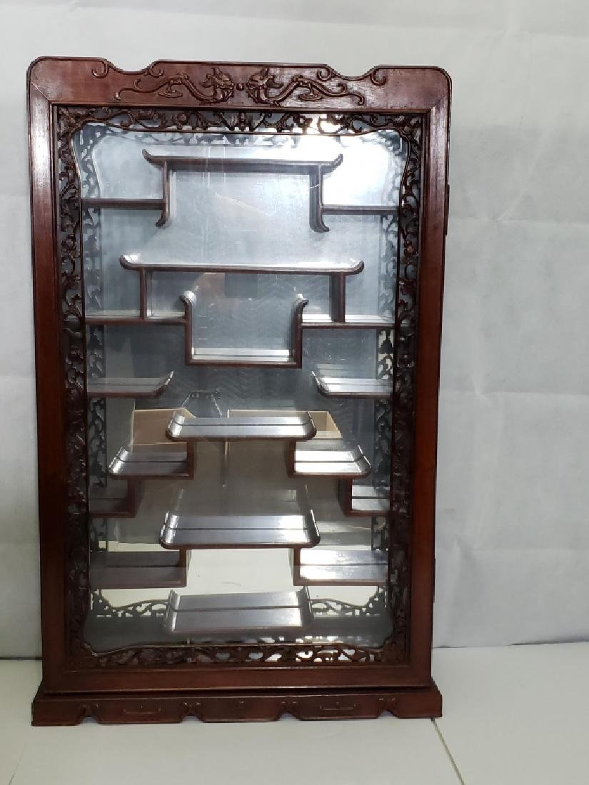 Vintage Carved Chinese Mirrored Display Cabinet