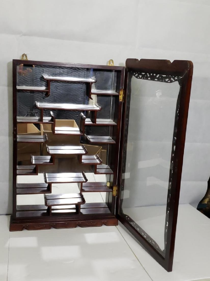 Vintage Carved Chinese Mirrored Display Cabinet - 2
