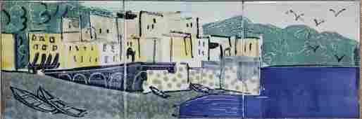Harris G. Strong 3 Tile Panel Harbor Scene