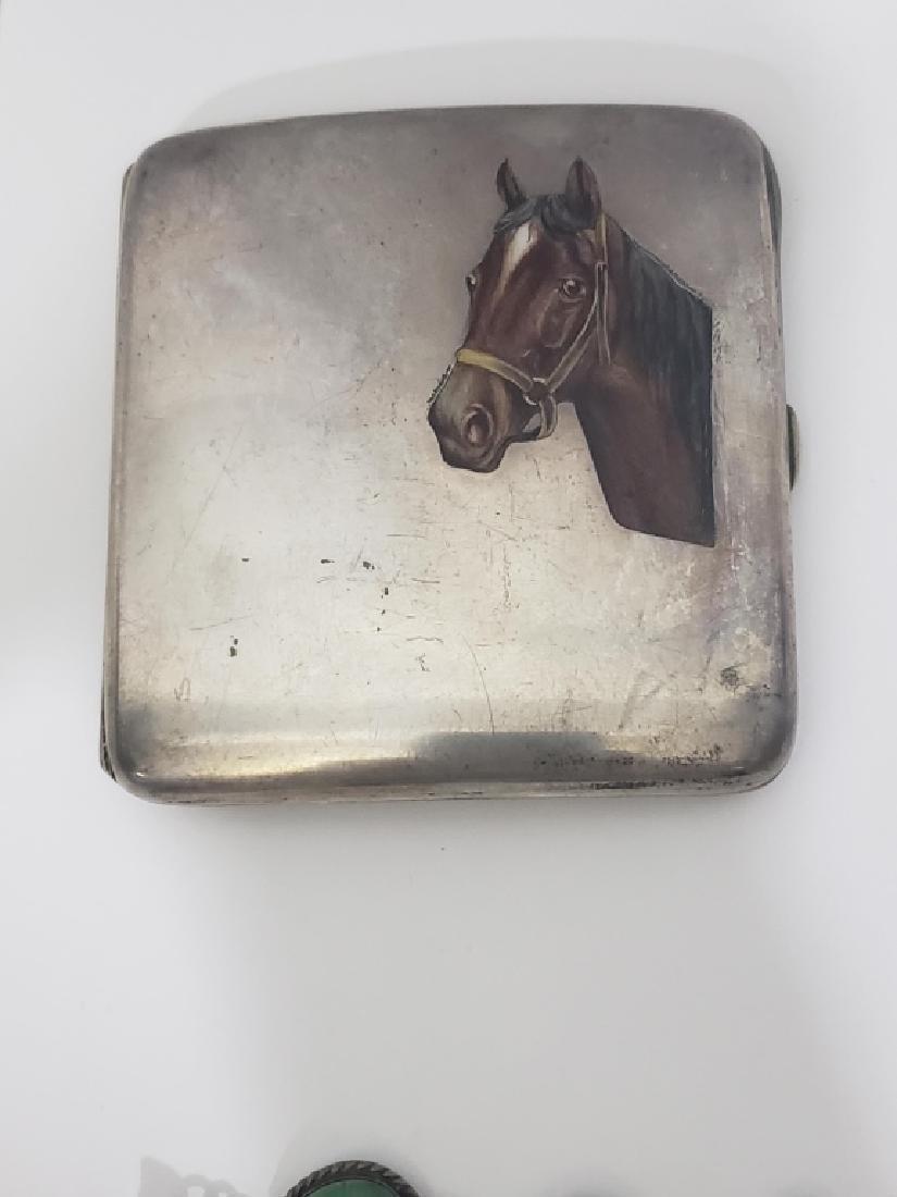 .800 Silver Cigarette Case Enamel Horse Head