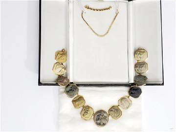 The Best 19th C Gold & Lava Cameo Necklace