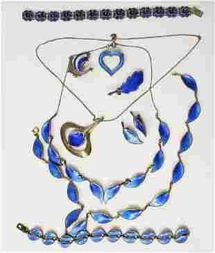 Sterling Silver & Blue Enamel Jewelry Lot (9)