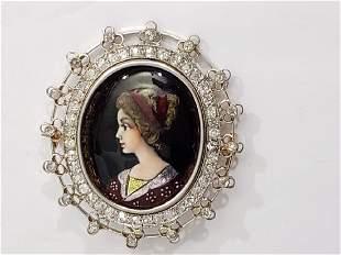 Antique 14K Gold, Diamond & Enamel Portrait Pin