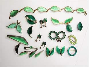 Group of 13 Pieces Sterling & Enamel Jewelry Green