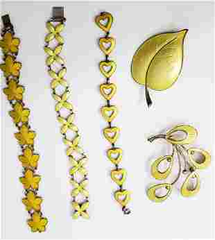 Group of 5 Sterling & Yellow Enamel Items