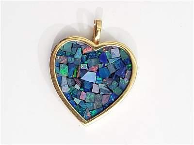 14K Gold & Opal Matrix Heart Pendant