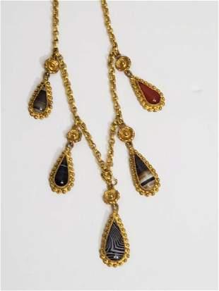 Vintage Banded Agate Drop Necklace