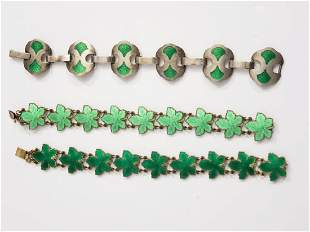 Sterling Silver & Enamel Green Bracelets (3)