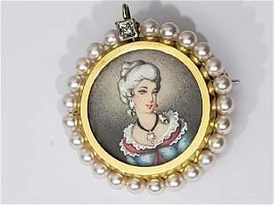 18K Gold, Pearl & Miniature Portrait Pin