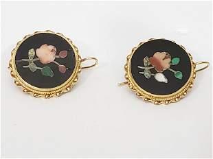 An Antique Pair of Pietra Dura & 14K Gold Earrings
