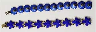Sterling Silver & Enamel Blue Bracelets (2)