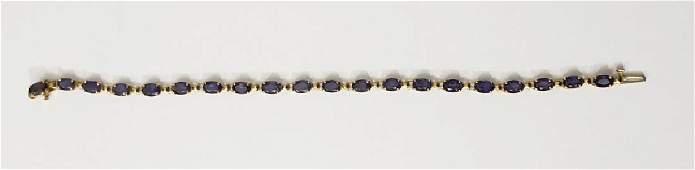 Modern 14K Yellow Gold & Sapphire Bracelet