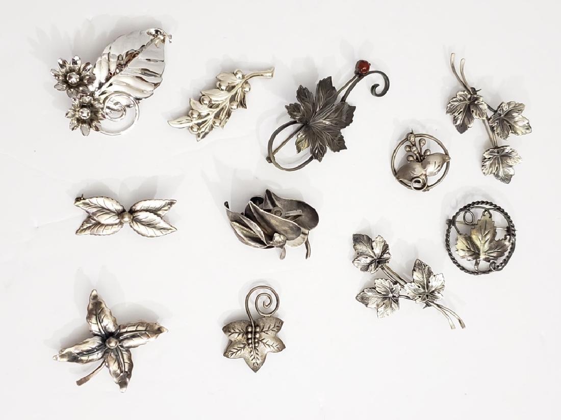 11 Assorted Sterling Flower Pins & Earrings