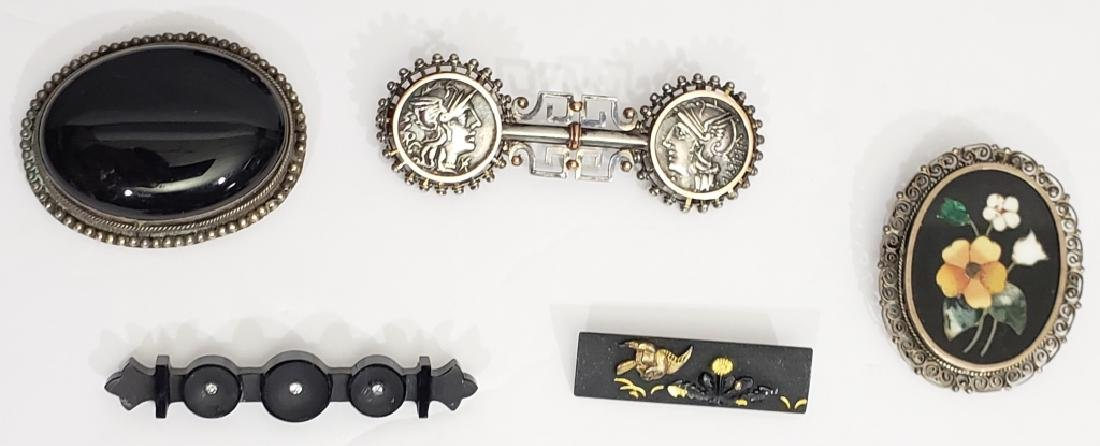 5 Interesting Antique Sterling & Gold  Pins
