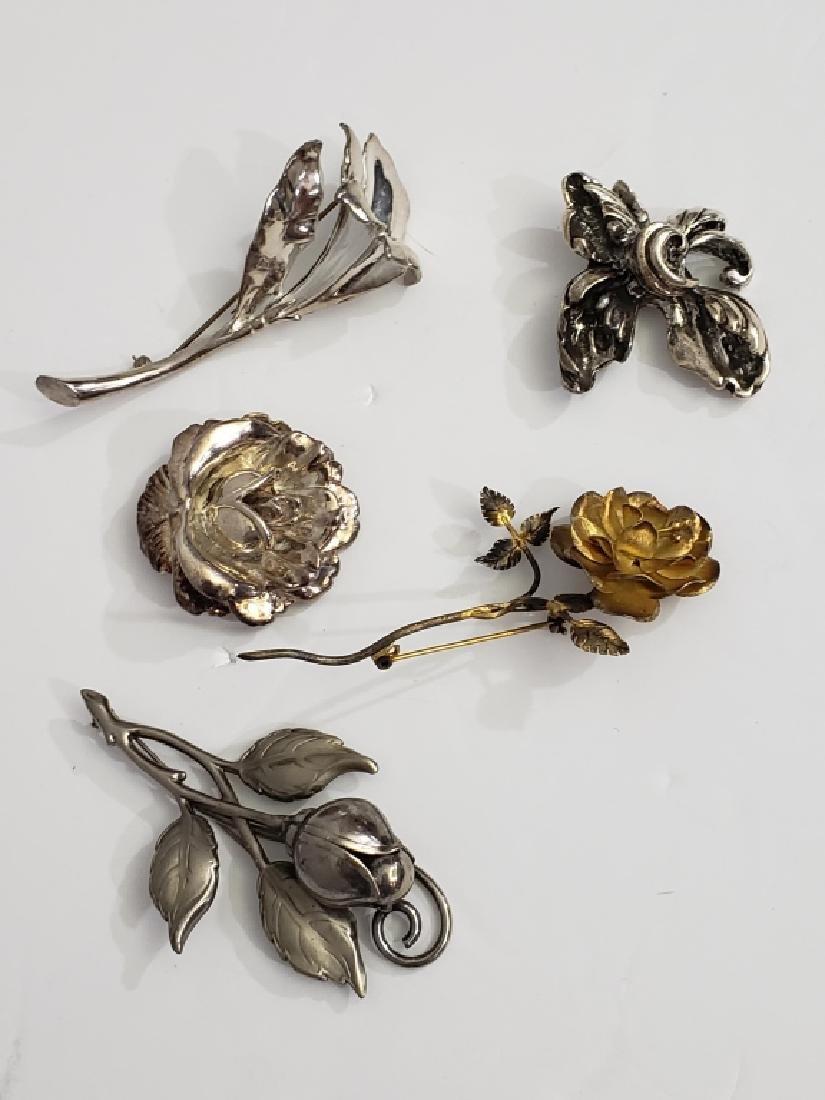 5 Vintage Sterling Silver Flower Pins