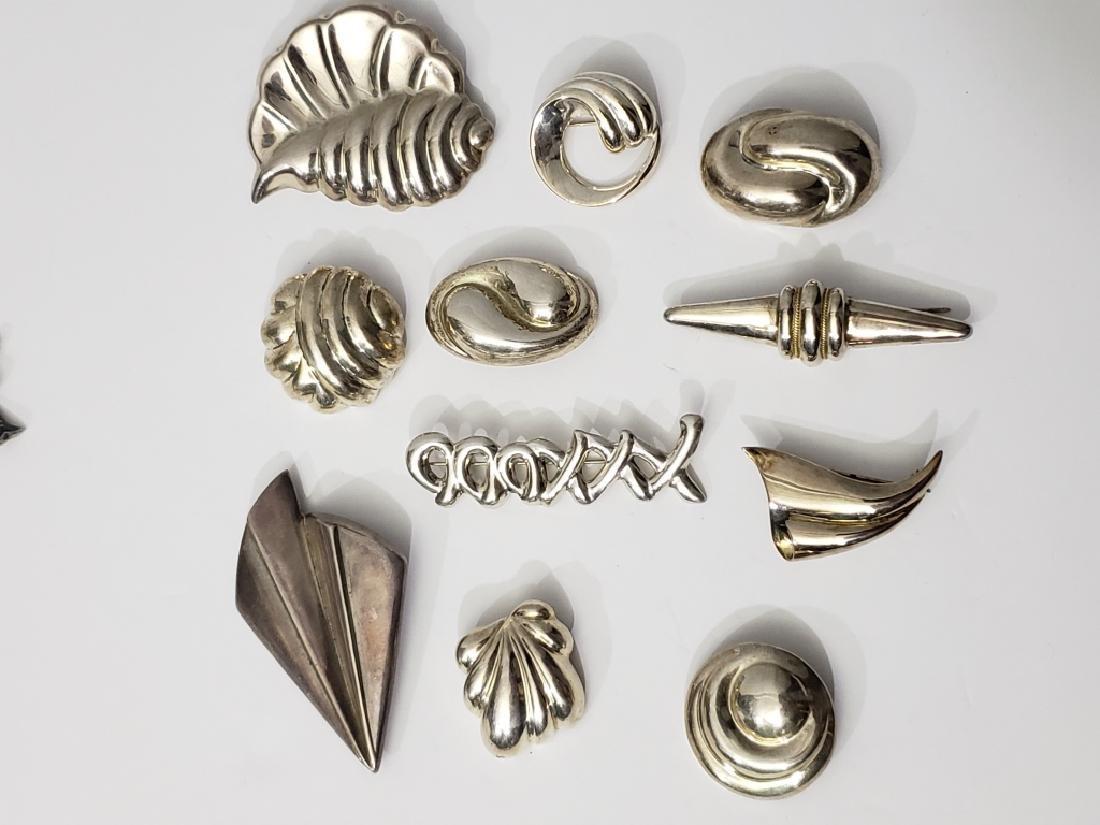 11 Vintage Sterling Silver Pins