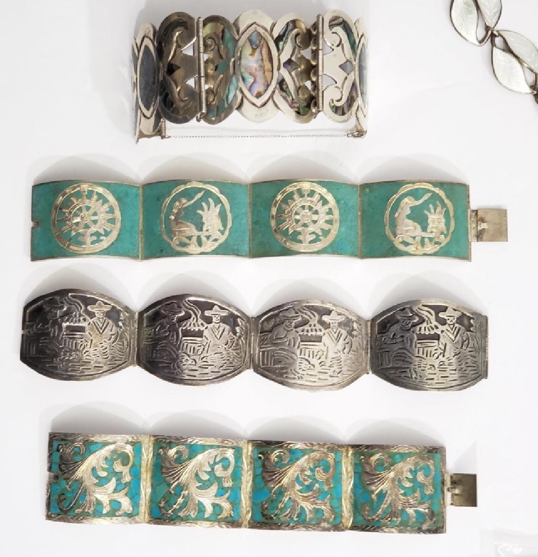 4 Large Vintage Mexican Silver Bracelets