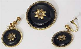 Victorian 14K Gold, Onyx Pearl Suite 3 Pieces