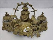 19th C. French Bronze Inkwell Bird Nest