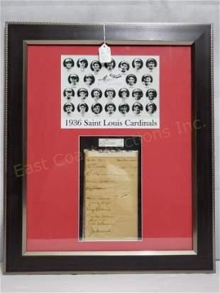 1936 St. Louis Cardinals Cut Signatures SGC Cert