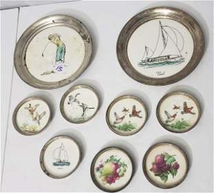 Sterling Silver Coasters (7) & 2 Plates