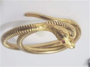 Vintage 14K Gold Snake Bracelet Ruby Eyes