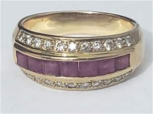 18K Yellow Gold, Diamond & Ruby Ring